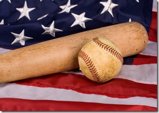 Old Baseball and Bat with American Flag