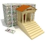 Bank and heap of dollar banknotes