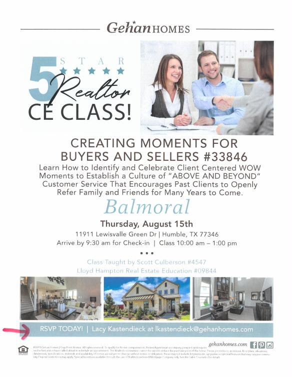CREATING MOMENTS CLASS AUG 15 2019, Soctt Culberson Real Esate Instructor